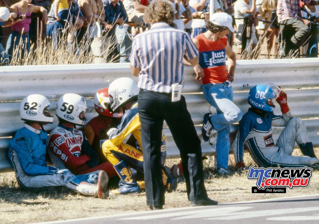 At the start line of Sunday's Unlimited GP. From L to R: Gary Coleman, Ron Boulden, Andrew Johnson, Lee Roebuck, Steve Trinder - Bathurst 1980 - Image by Phil Aynsley