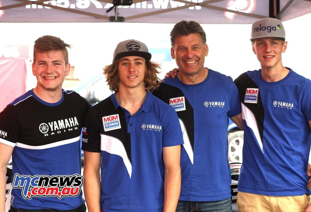 While Lukas Trautmann will keep riding in the Superbike category next to Florian Alt, Remy Gardner (Second from left) makes his debut in the Superstock 1000 class for Team Yamaha MGM.