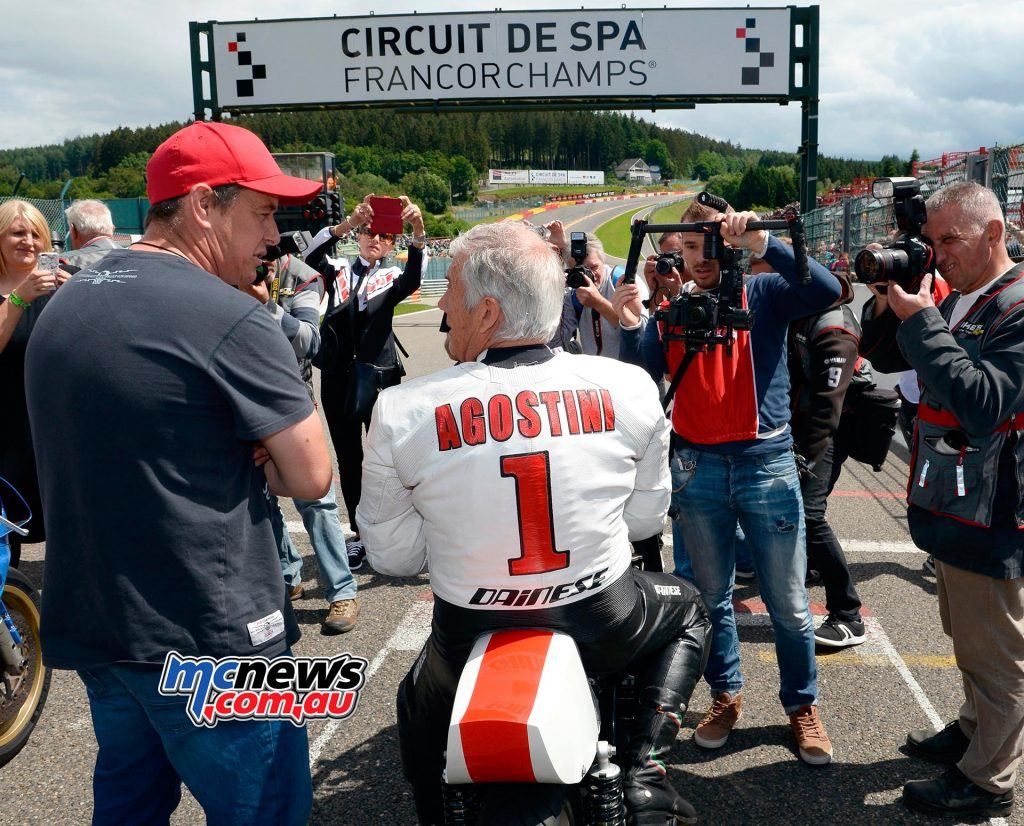 Giacomo Agostini and John McGuinness - Spa Francorchamps Spectacle