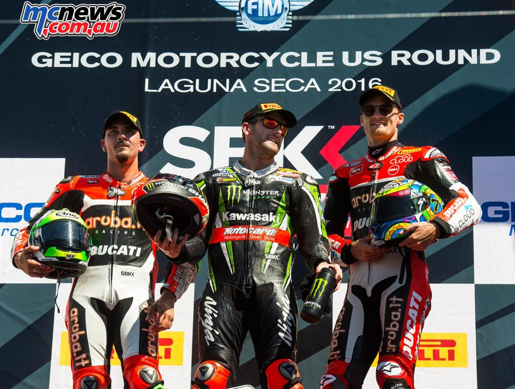 WorldSBK 2016 - Laguna Seca- Race Two Podium - Tom Sykes, Davide Giugliano, Chaz Davies