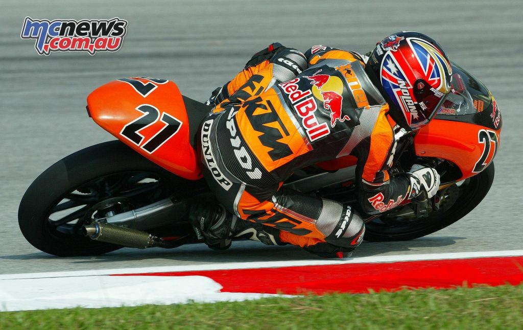 Casey Stoner took KTM's first win in MotoGP with a 125cc victory at Sepang in 2004