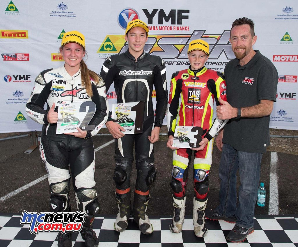 ASBK 2016 - Morgan Park - Image by Keith Muir - Moto3 Podium - Tom Edwards