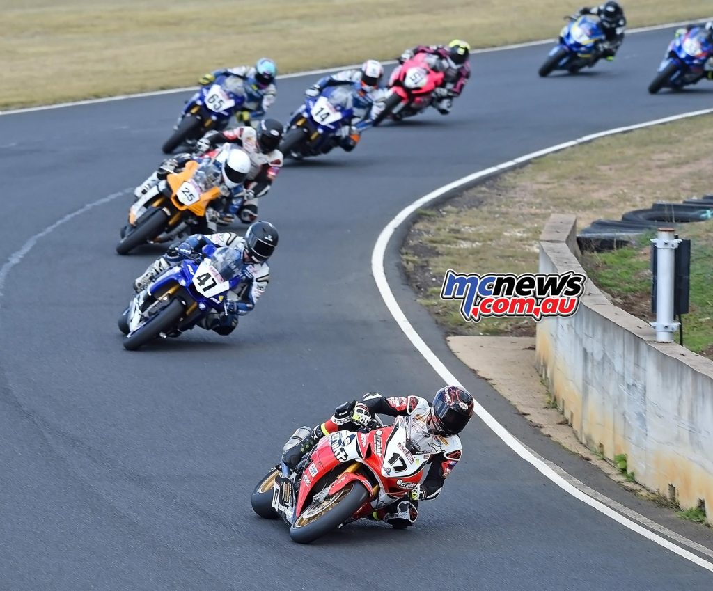 ASBK 2016 -Morgan Park - Troy Herfoss leads Superbike Race One - Image by Keith Muir