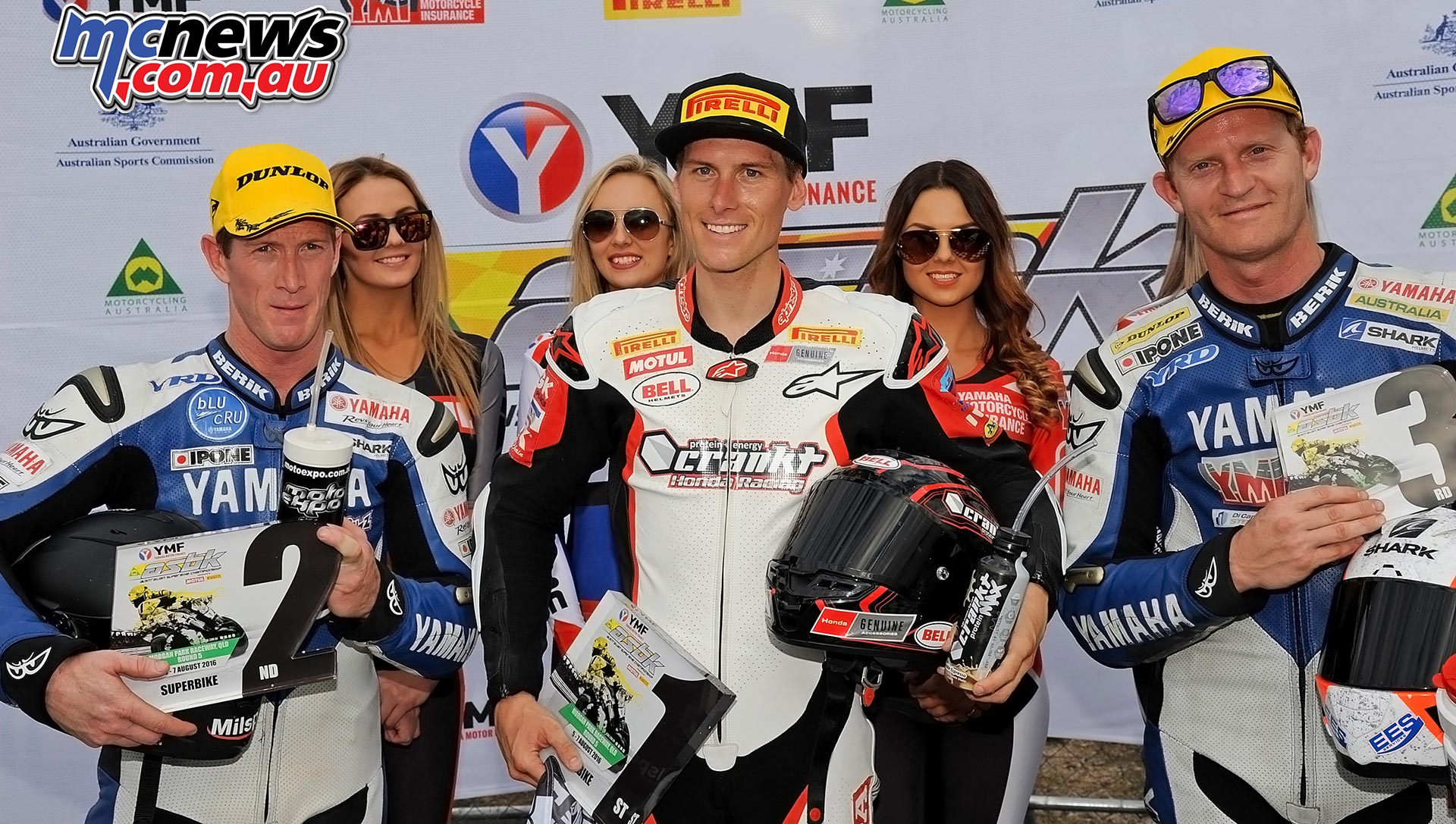 ASBK 2016 -Morgan Park - Superbike Race Two - Image by Keith Muir - Round Podium - Troy Herfoss 1st - Wayne Maxwell 2nd - Glenn Allerton 3rd