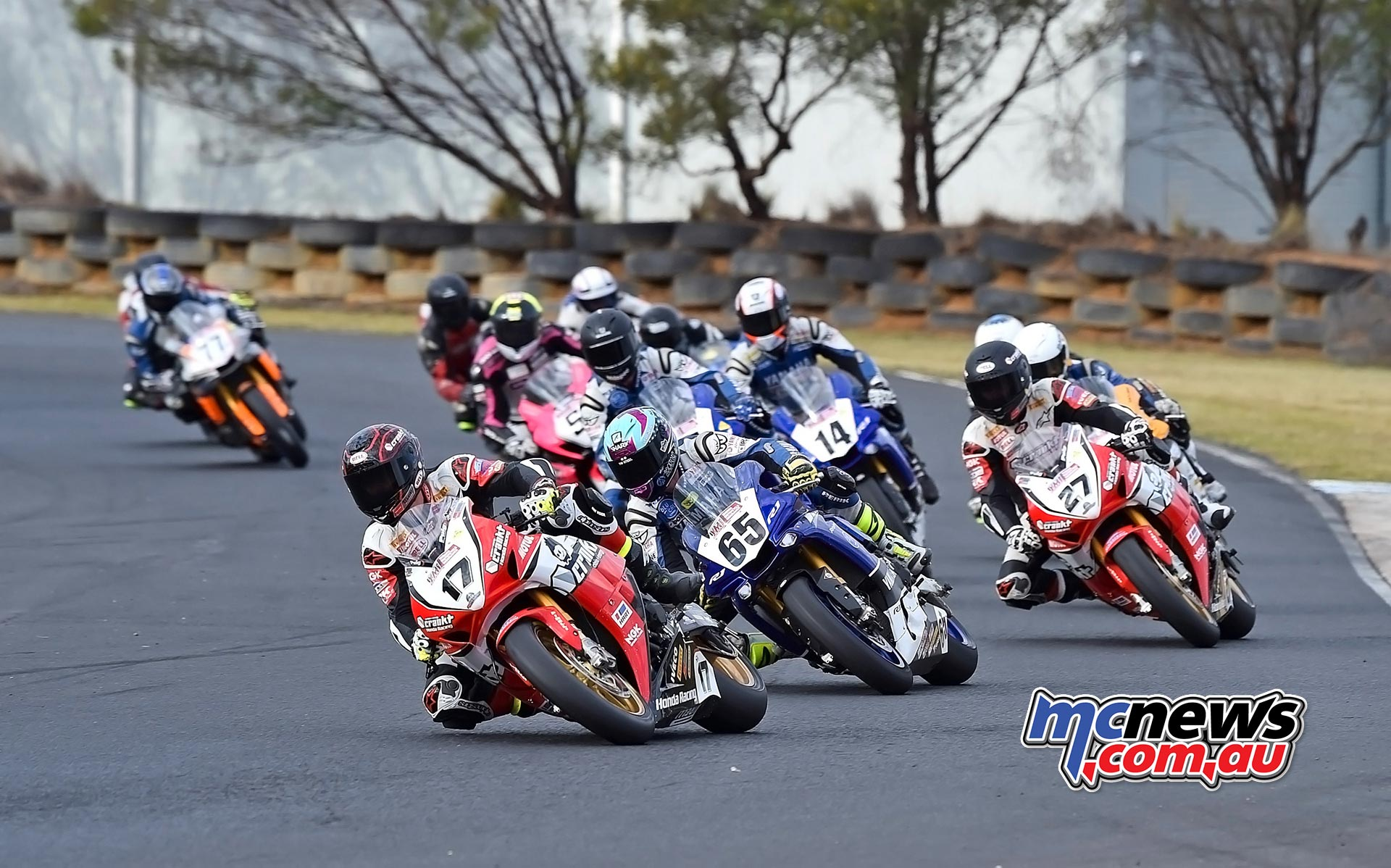 ASBK 2016 -Morgan Park - Superbike Race Two - Image by Keith Muir - Troy Herfoss leads the field away