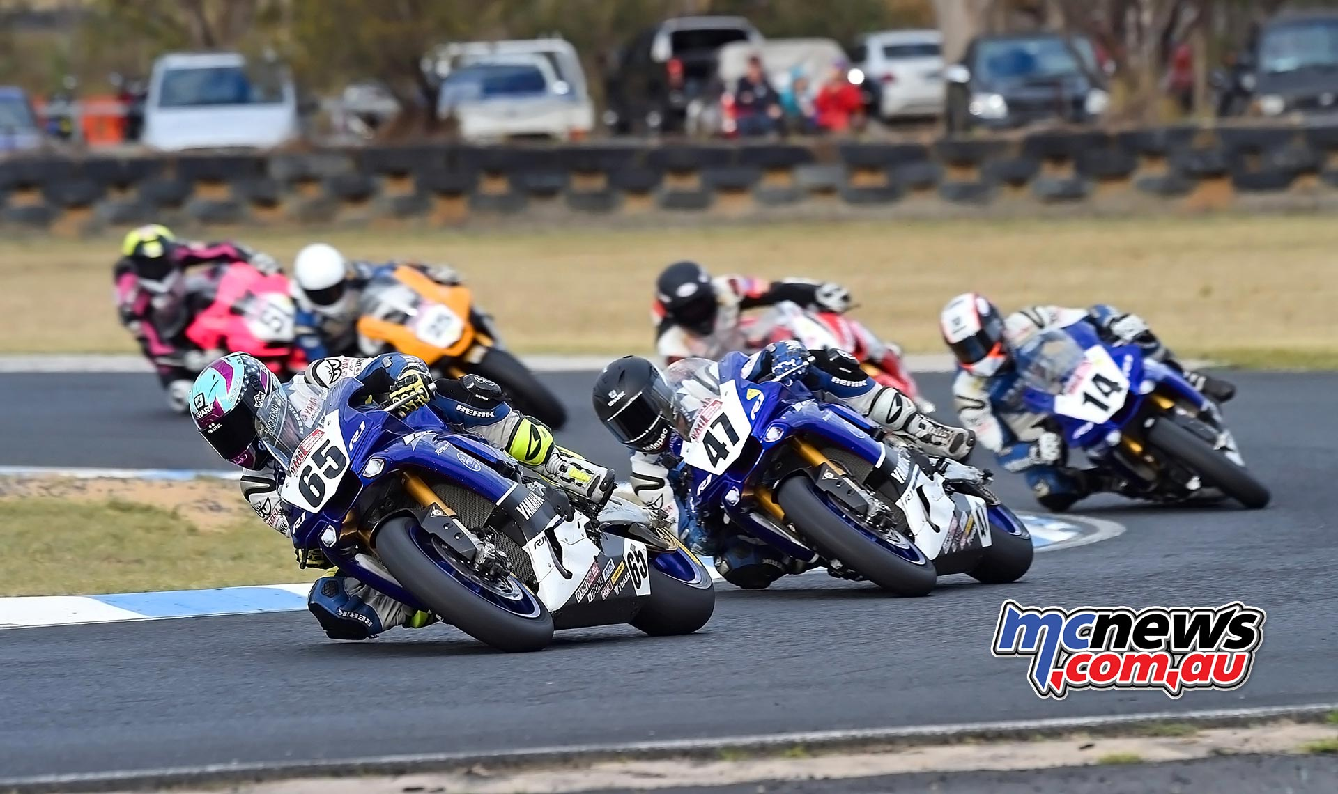 ASBK 2016 -Morgan Park - Superbike Race Two - Image by Keith Muir - Cru Halliday leads Glenn Allerton