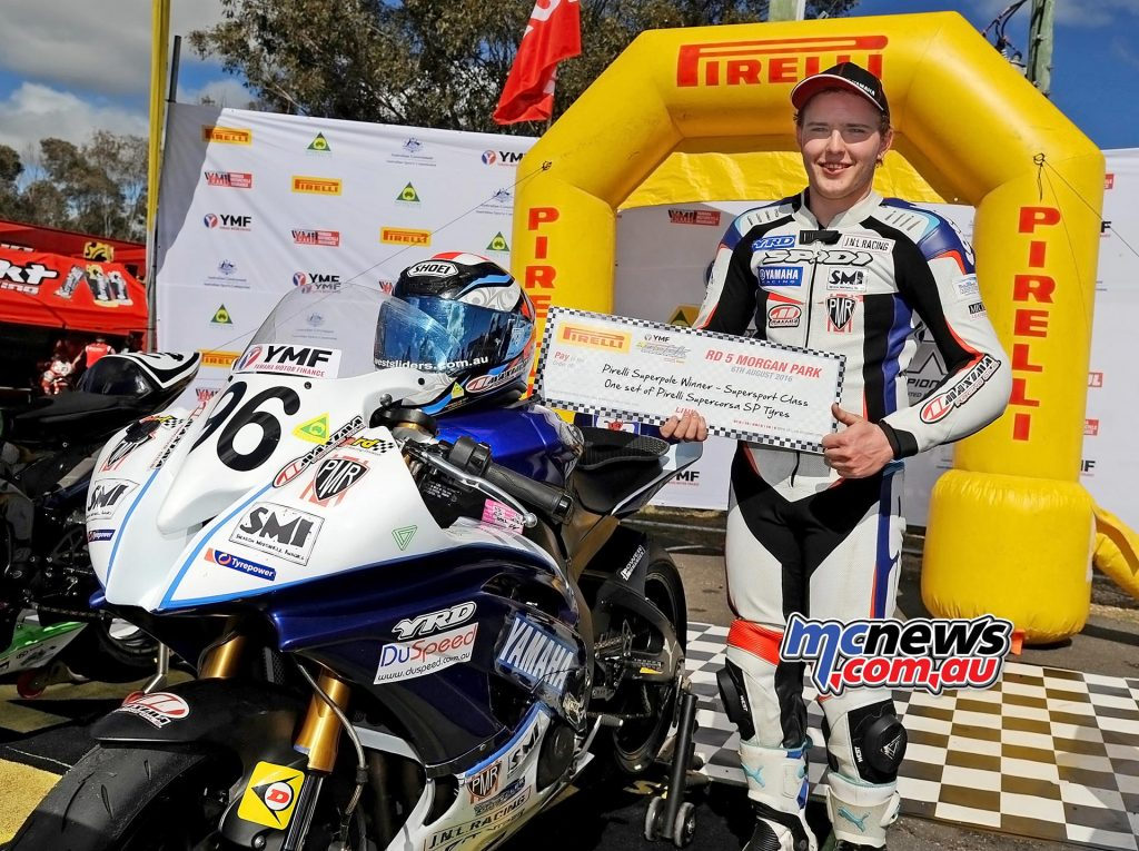 ASBK 2016 -Morgan Park - Supersport Pole Position - Luke Mitchell - Image by Keith Muir