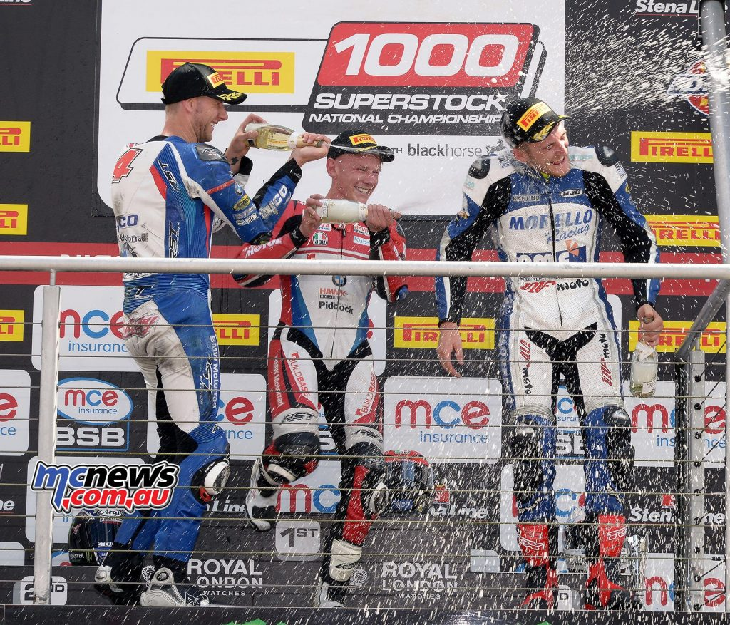BSB 2016 - Brands Hatch - Superstock 1000 Podium -  Ian Hutchinson Tyco BMW -  Taylor Mackenzie Buildbase BMW - Fraser Rogers Morello Racing Kawasaki