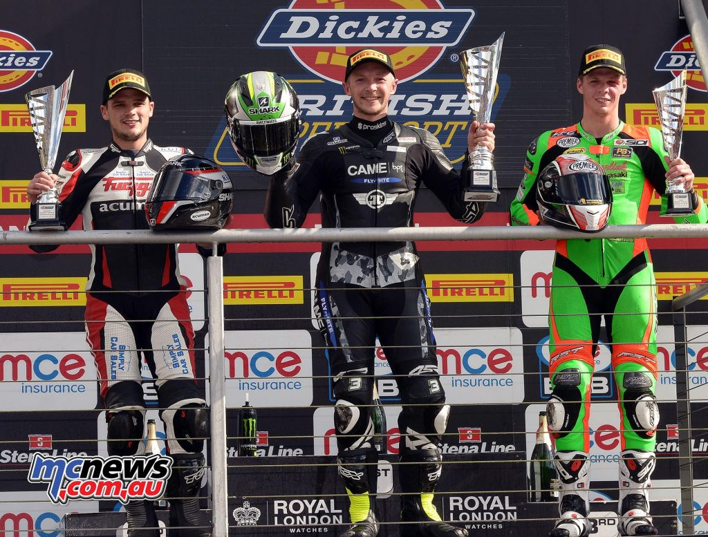BSB 2016 - Brands Hatch - Supersport Podium -  James Westmoreland CAME BPT Yamaha - Luke Jones Acumen Industrial Services Triumph - Mason Law Gearlink Kawasaki - Image by Jon Jessop