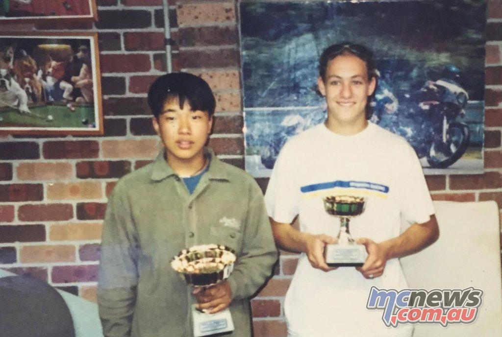 Josh Brookes with Takuya Tsuda at Tony Hatton's house back in the Moriwaki days circa 1998