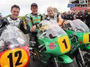 Classic TT 2016 - Senior Classic TT Podium - John McGuinness 1st - Dean Harrison 2nd - Maria Costello 3rd