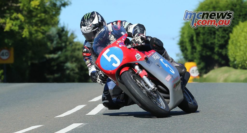 Michael Dunlop took first place in the Okells Junior Classic TT Race riding the Black Eagle Racing 350 MV Agusta replica