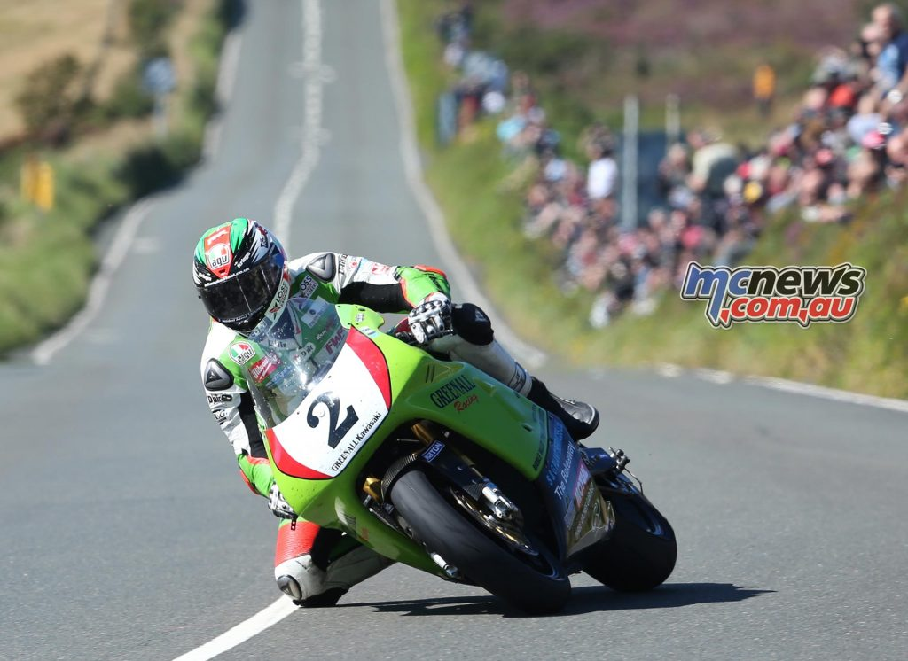 James Hillier on the Greenall Racing Kawasaki ZXR750 at the Creg-ny-baa during the Motorsport Merchandise Superbike Classic TT