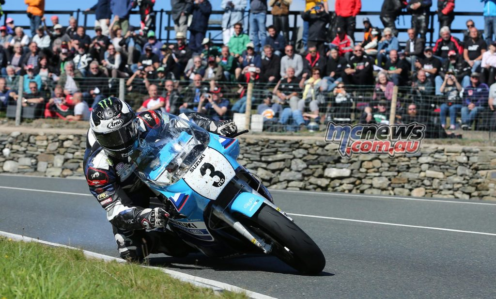 Michael Dunlop at the Creg-ny-baa on his way to winning the Motorsport Merchandise Superbike Classic TT on the 1100cc Team Classic Suzuki XR69 replica