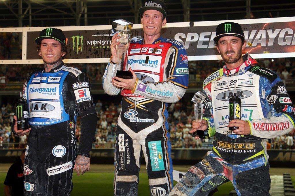 FIM Speedway GP - Gorzow, Poland - Jason Doyle (1s), Tai Woffinden (2nd), Chris Holder (3rd)