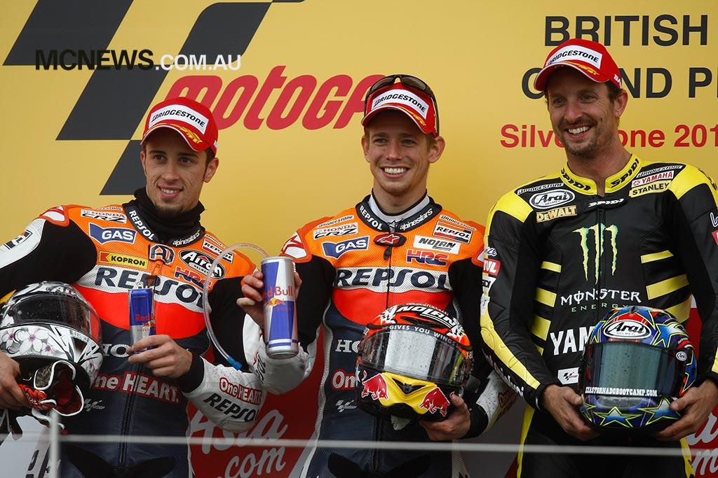 MotoGP 2011 - Silverstone - Image by AJRN - Casey Stoner 1st - Andrea Doviziso 2nd - Colin Edwards 3rd