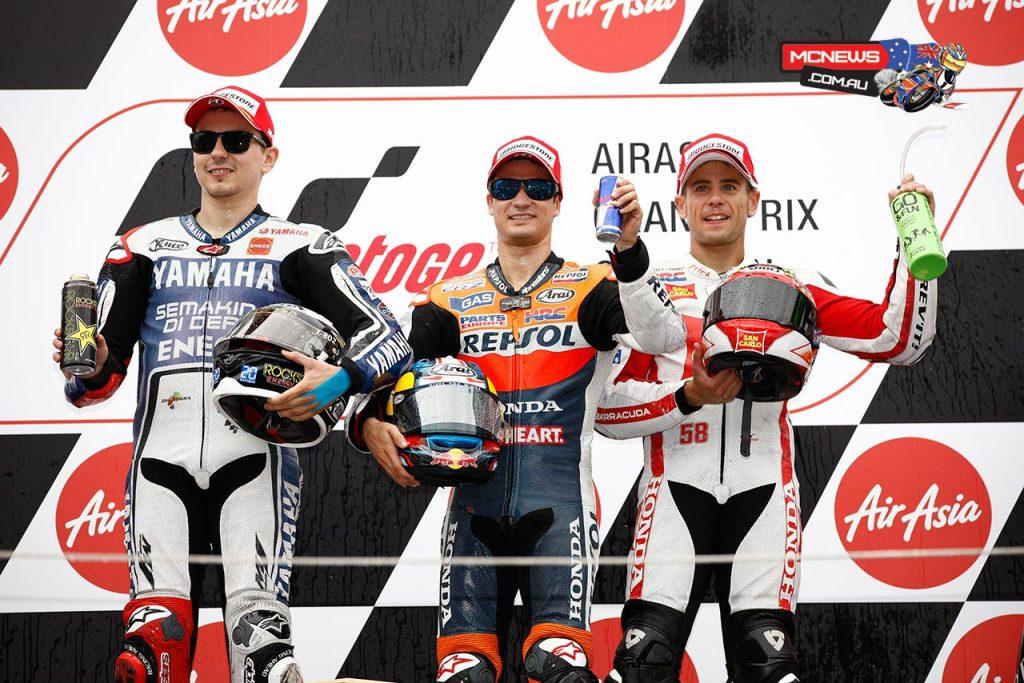 Motegi MotoGP Podium 2015 - Dani Pedrosa 1st - Jorge Lorenzo 2nd - Alvaro Bautista 3rd