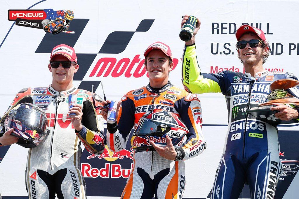 MotoGP 2013 - Laguna Seca MotoGP Podium - Marc Marquez 1st - Stefan Bradl 2nd - Valentino Rossi 3rd