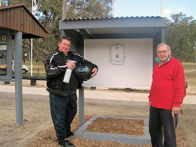 Grey Gum Cafe - Helmet Vistor Cleaning Station - Noel taylor from Hills District Ulysses on the left and John Grace on the right