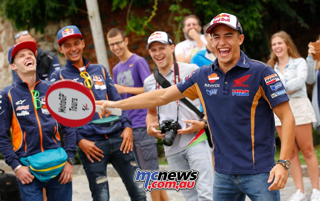 Spielberg MotoGP - Red Bull Ring - Marc Marquez, Bo Bendsneyder, Jonas Folger, Sandro Cortese, Brad Binder and Stefan Bradl tour the beautiful streets of Graz.