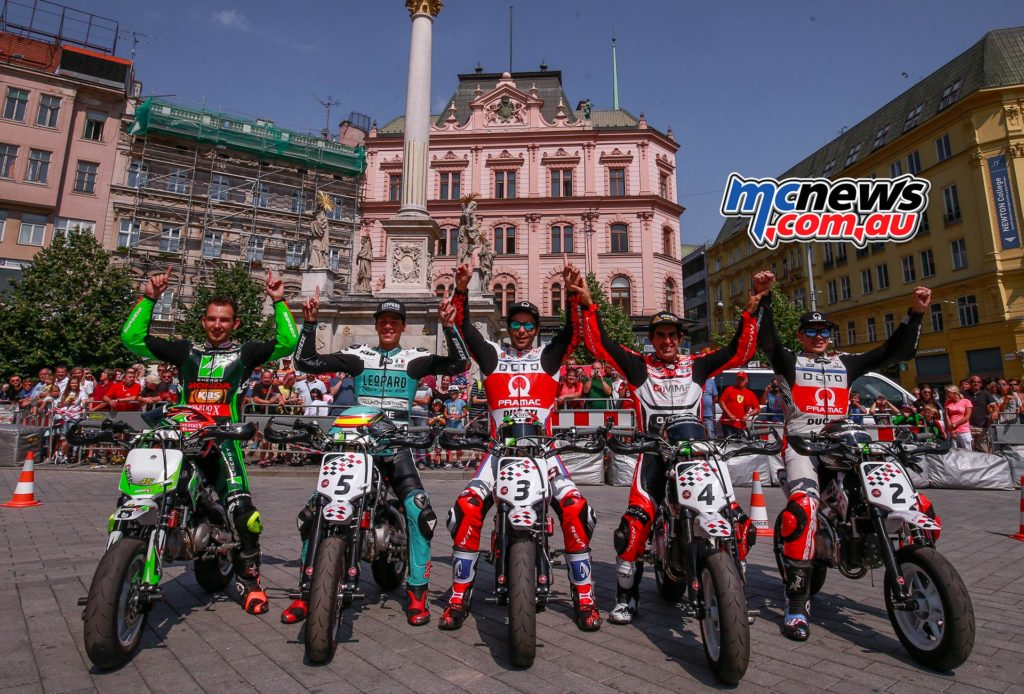 MotoGP Brno 2016 - Danilo Petrucci, Scott Redding, Pol Espargaró, Julián Simon and Joan Mir in downtown Brno with minibikes during the Pre-Event.