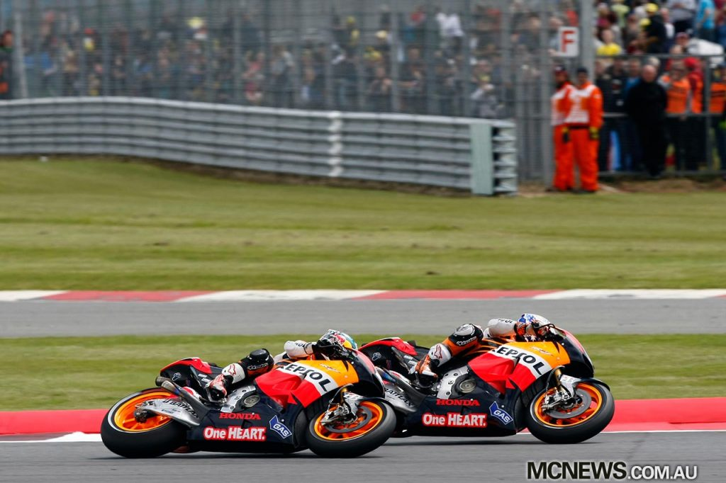 MotoGP 2012 - Silverstone - Image by AJRN - Dani Pedrosa and Casey Stoner