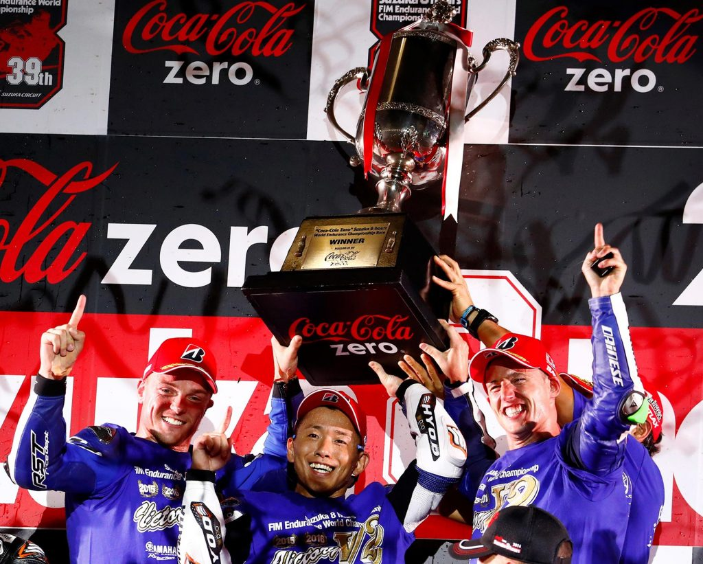 Suzuka 8 Hour 2016 - Naksuga, Lowes and Espargaro hold the trophy aloft