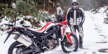 Trevor Hedge shows off DriRider's adventure kit while getting up amongst the snow behind Mount Torbreck last weekend on Honda's new Africa Twin