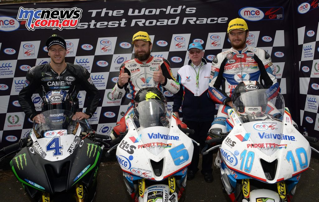Supersport Race One Podium - Bruce Anstey the victor ahead of Ian Hutchinson and Conor Cummins