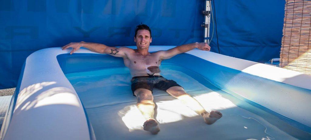 Broc Parkes cools off between sessions
