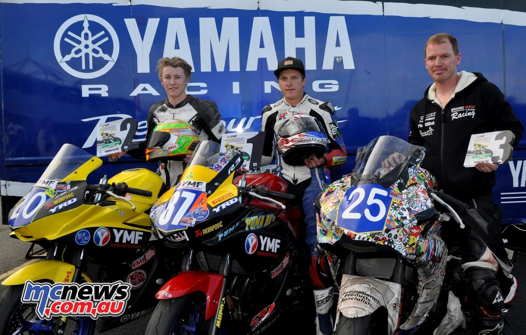 YMF R3 Cup podium Phillip Island 2016 - Zac Levy 75 pts - Hunter Ford 58 pts - Michael King 51 pts