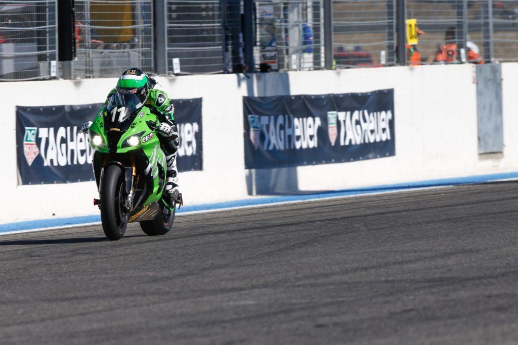 The #11 SRC Kawasaki ridden by Randy de Puniet, Gregory Leblanc and Fabien Foret.