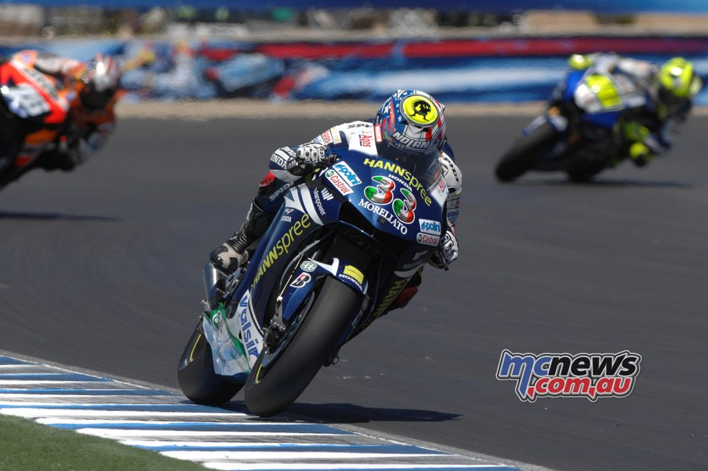 "2007 - THE LAGUNA MONSTER 2007 is not an easy season, but Marco Melandri, fifth at end of the year, is still protagonist of memorable races: on the strip of asphalt that winds around the famous ""Corkscrew"" at Laguna Seca, the Italian takes a sensational podium despite a sore ankle after a big crash in Qualifying."