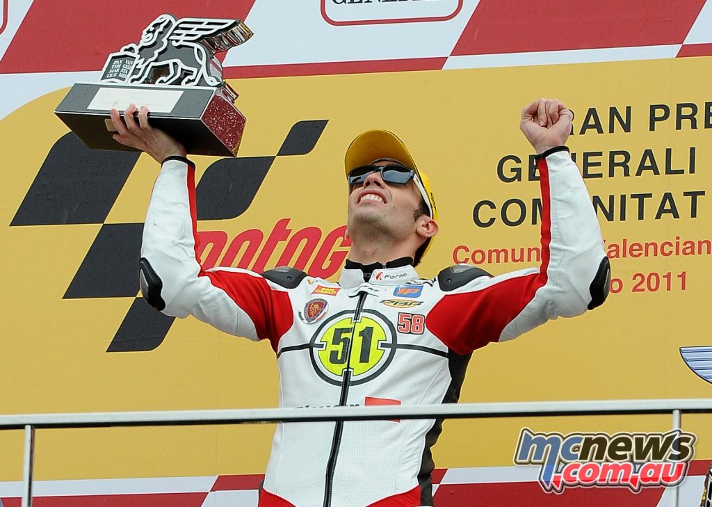 2011 - THE TRIUMPH OF PIRRO IN THE NAME OF SIMONCELLI In the race after the terrible Malaysian GP, at Valencia, Michele Pirro gets a thrilling victory in Moto2. A very touching moment for the entire team, racing in the memory of SIC.