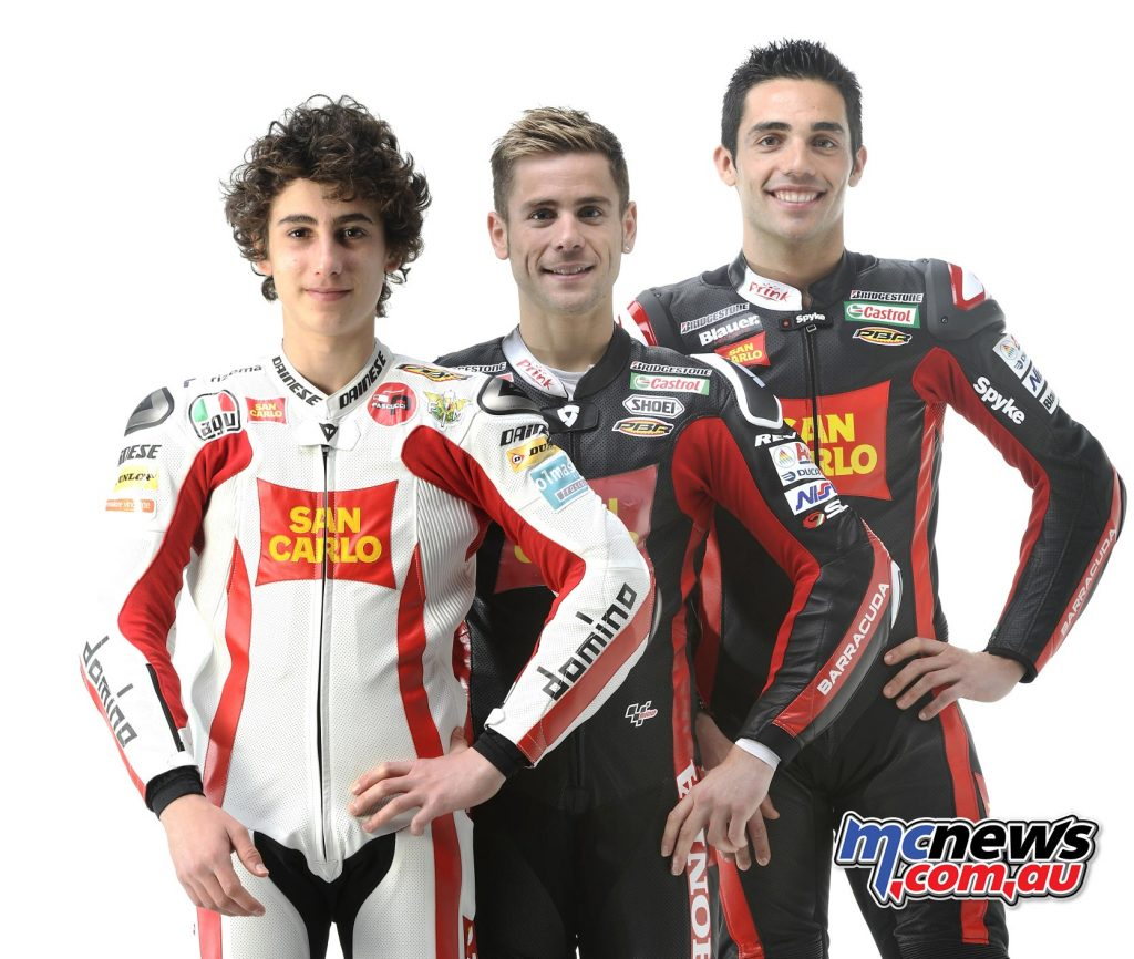 2012 - TRIPLE COMMITMENT In the newly formed Moto3 category, Fausto Gresini recognizes the ideal ground for a project aimed at the promotion of young Italian talents. The commitment in the smaller displacement, which is added to those in the Moto2 and MotoGP classes, starts with a Honda entrusted to the young Niccolò Antonelli.