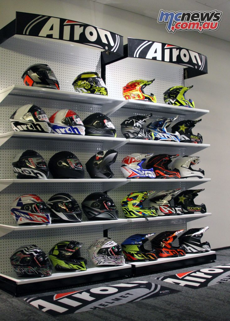 The Airoh Helmet range uncovered, included the Aviator 2.2 and GP 500 helmets.