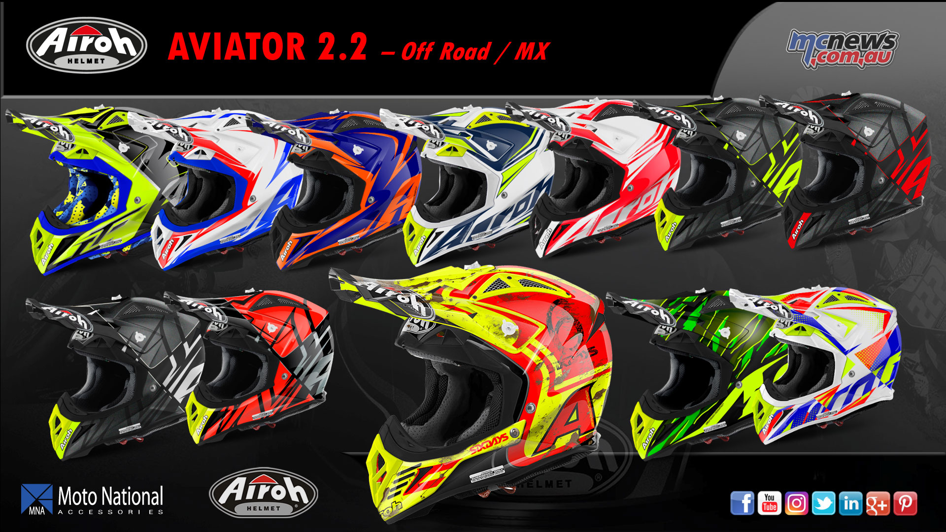 The Airoh Aviator 2.2 comes in a huge variety of colour options.