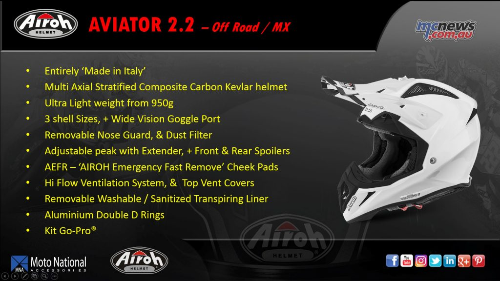 The Aviator 2.2 is the Airoh top of the line off-road/MX helmet, with composite Carbon Kevlar shell and weight of only 950g.