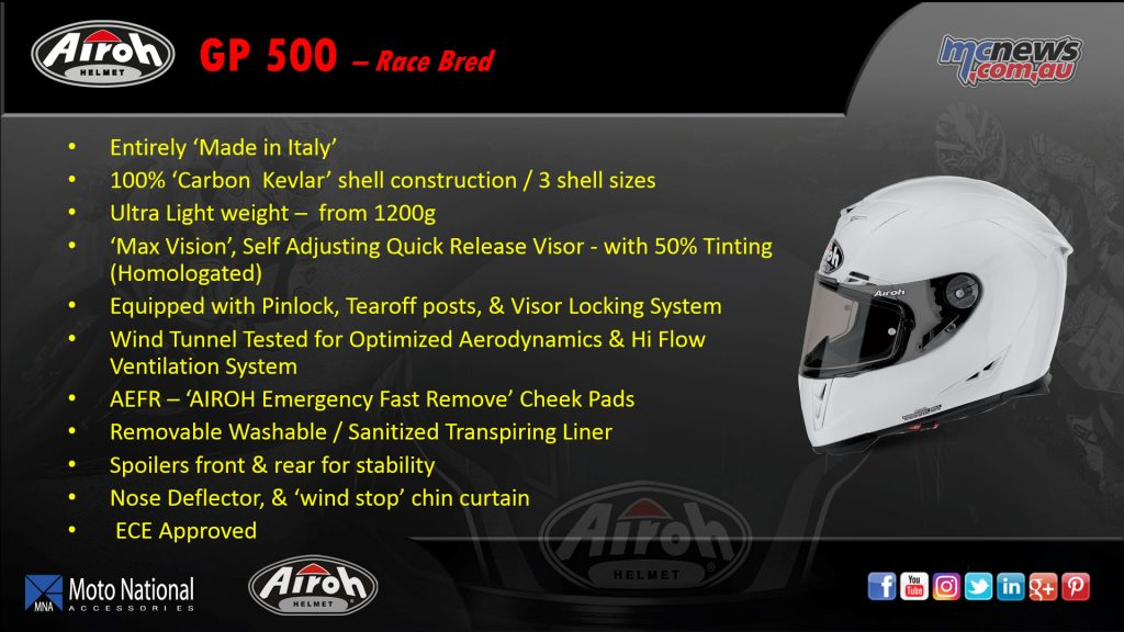 The Airoh GP 500 is their full race helmet with a Carbon Kevlar shell and ultra-light weight.