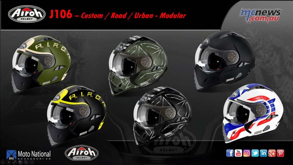 The Airoh J106 modular road helmet offers great styling with a removable chin-piece.