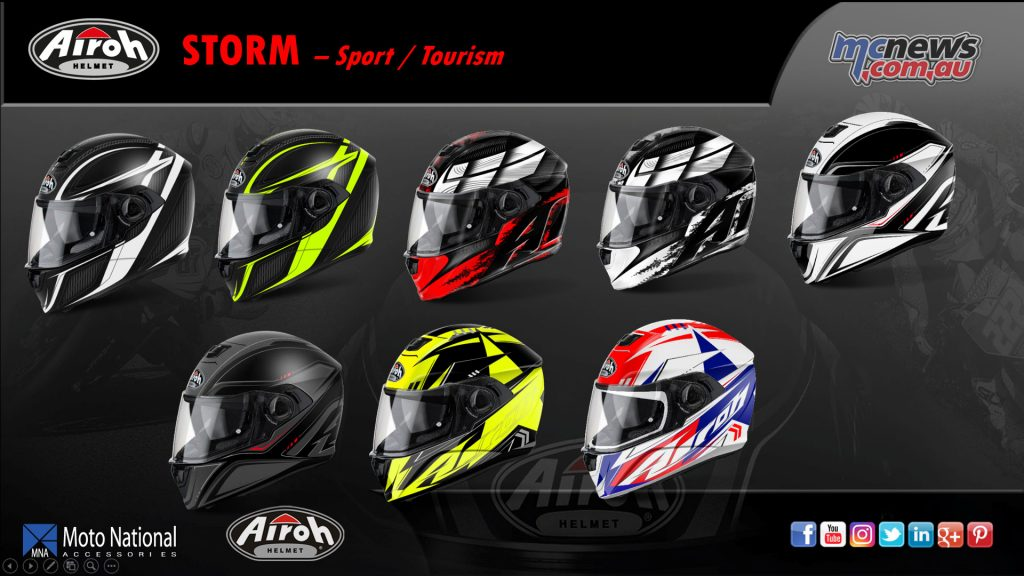 The Airoh Storm sport/touring helmet, with HRT shell construction, internal sun visor and light weight - from 1420g.