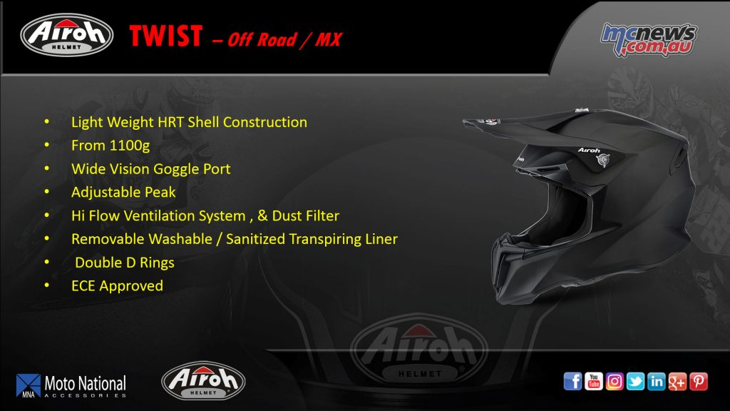 The Airoh Twist, an off-road/MX helmet with light weight HRT construction, adjustable peak and high flow ventilation.