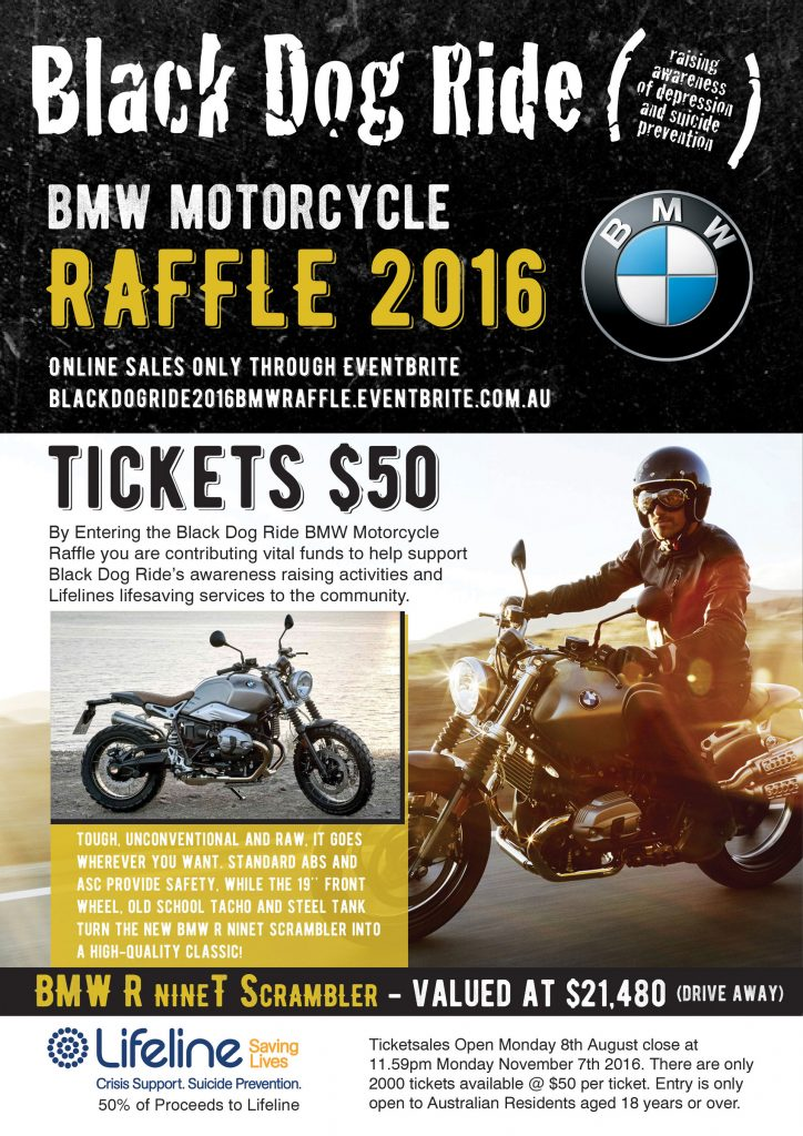 The Black Dog Ride supported by BMW Motorrad raises awareness and money for Lifeline, which provides crisis support and suicide prevention services.