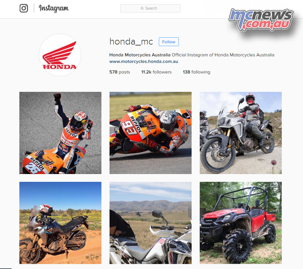 The Honda Motorcycles Australia official Instagram page.