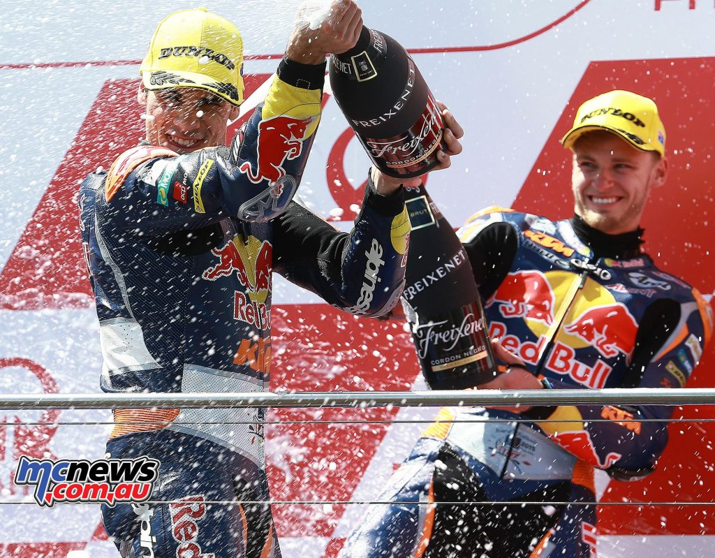 Miguel Oliveira and Brad Binder share a podium in 2015