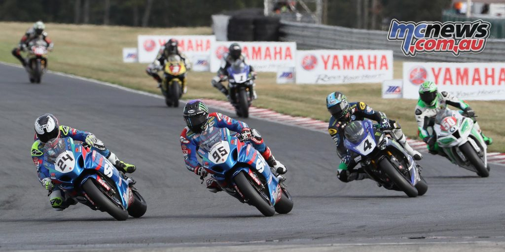 Toni Elias (24) and Roger Hayden (95) split wins in the two Superbike races. Josh Hayes (4) was second and third. Bobby Fong (5) was the top Superstock 1000 racer.
