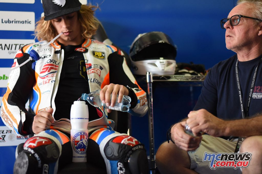 Remy Gardner in the pit with father Wayne Gardner – Image by Tasca Racing