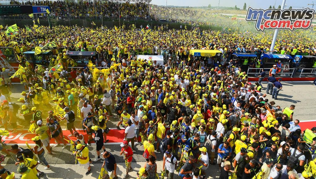 Valentino Rossi's horde of fans at Misano last year. Boris was with them in spirit, throwing his front soiled panties to his god of racing