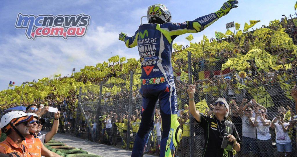 Valentino Rossi greets fans at Misano