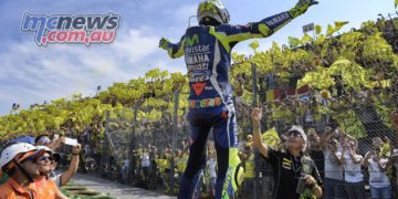 Valentino Rossi greets fans at Misano